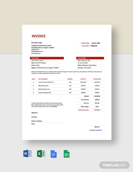 Free Simple School Invoice Template