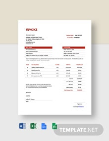 Free Simple School Invoice Template