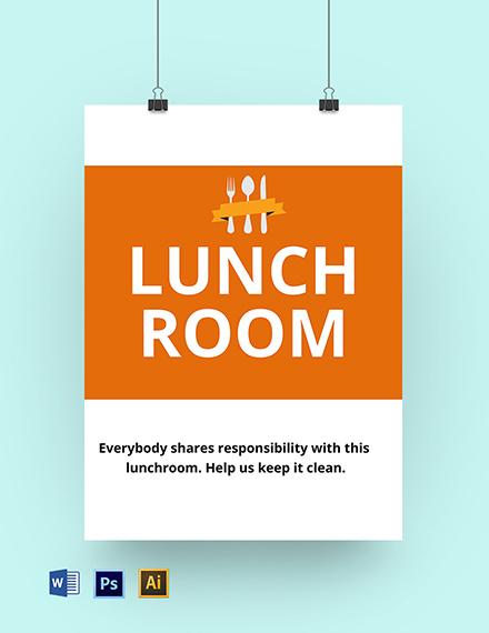 School Lunchroom Sign Template
