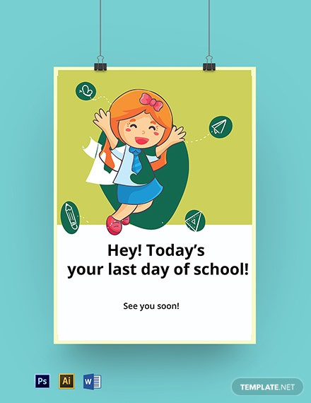 Last Day of School Sign Template