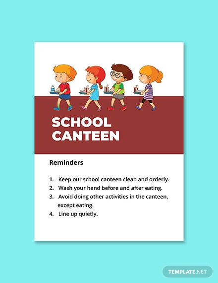 School Canteen Signage Template Printable