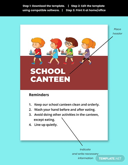 School Canteen Signage Template Snippet