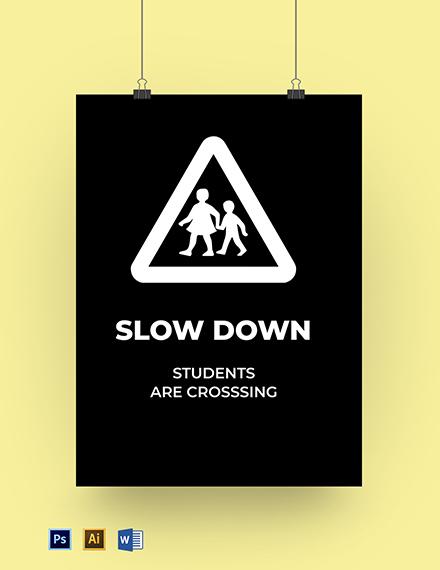 School Road Sign Template