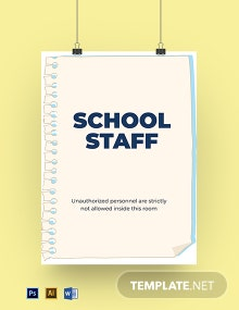 School Staff Room Sign Template