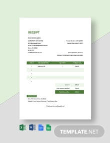 School Admission Receipt Template