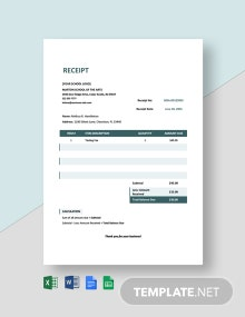 Sample School Cash Receipt Template