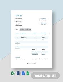 School Tuition Receipt Template