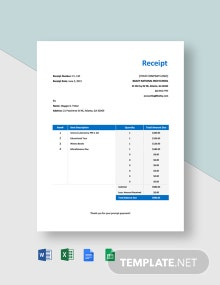 School Payment Receipt Template