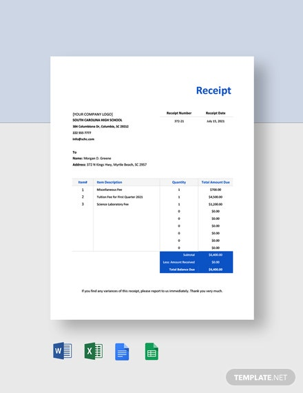 School Fee Payment Receipt Template