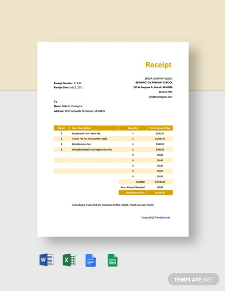 Free Basic Primary School Receipt Template