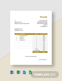 Free Simple High School Receipt Template