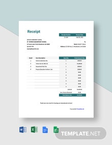 Free Sample School Receipt Template
