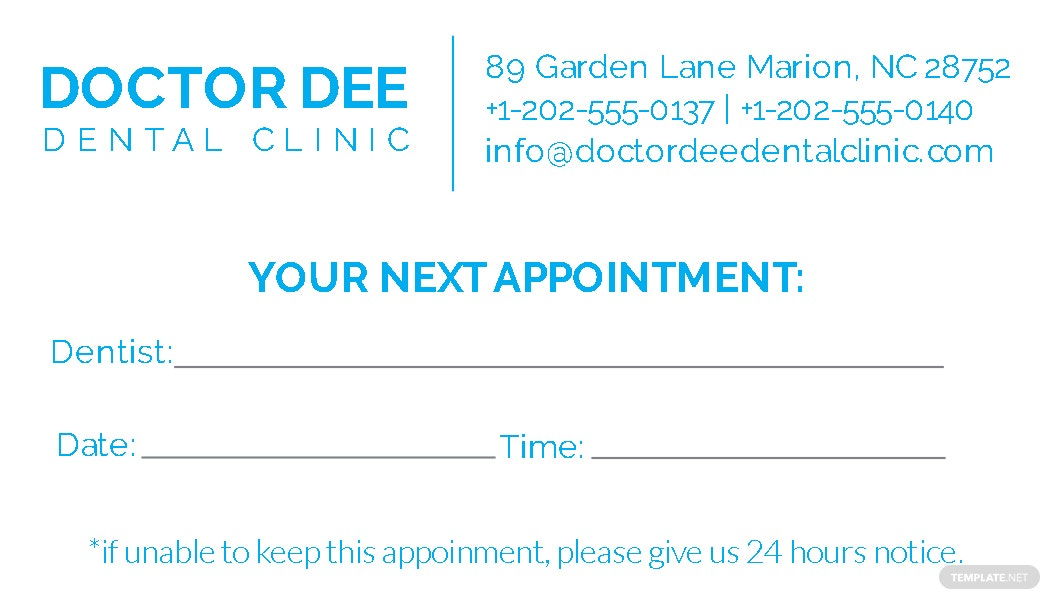Awesome Dentist Appointment Card Template Ornament - Certificate ...