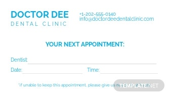 Free Dentist Appointment Card Template 1.jpe