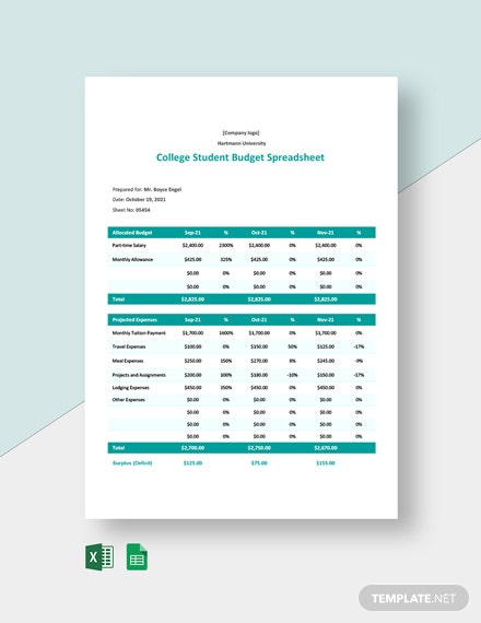 Editable College Student Budget Worksheet Template