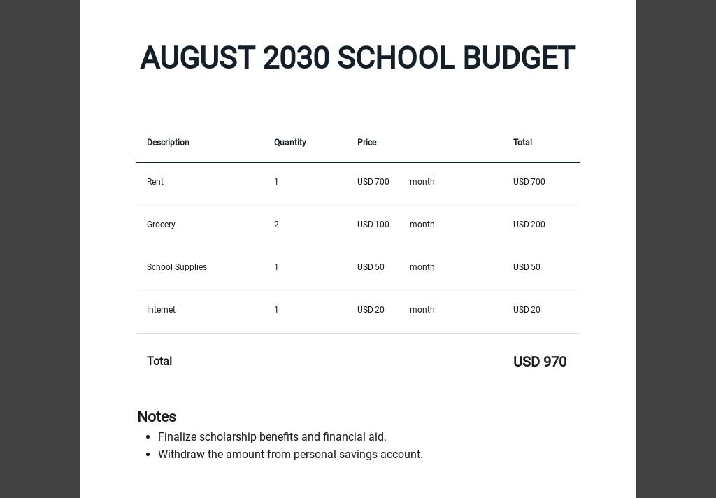 Editable College Student Budget Worksheet Template