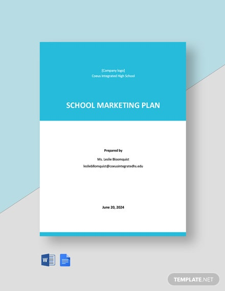 Editable School Marketing Plan Template