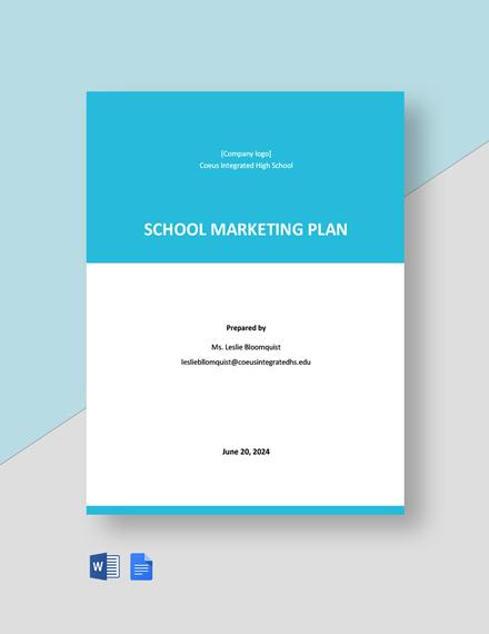 Editable School Marketing Plan