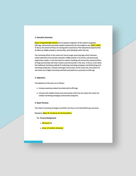 Editable School Marketing Plan Download