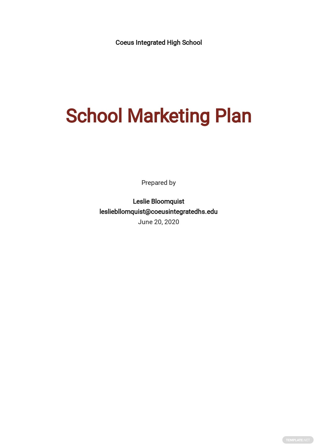 Editable School Marketing Plan Template