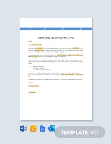 Free Engineering Job Application Letter Template