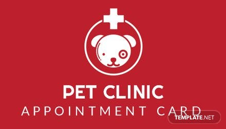 Pet Clinic Appointment Card Template