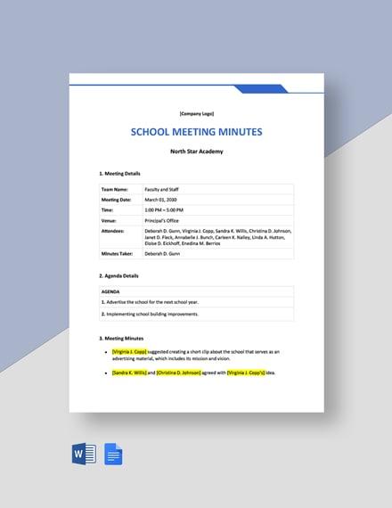 Editable Free Sample School Meeting Minutes Template
