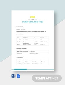Editable Student Enrollment Form Template