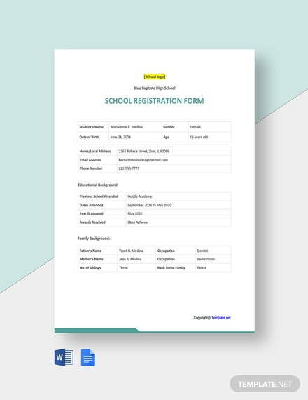 Free Sample School Registration Form Template