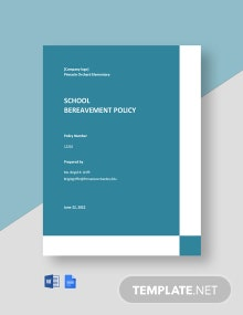 School Bereavement Policy Template