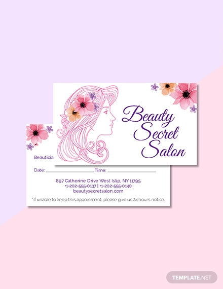 Free Salon Appointment Card Template