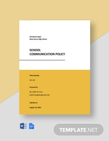 School Communication Policy Template