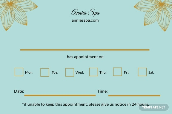 Free Spa Appointment Card Template 1.jpe