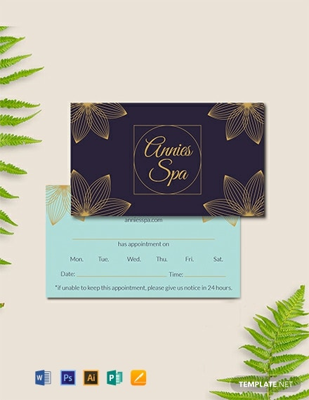 Free Spa Appointment Card Template