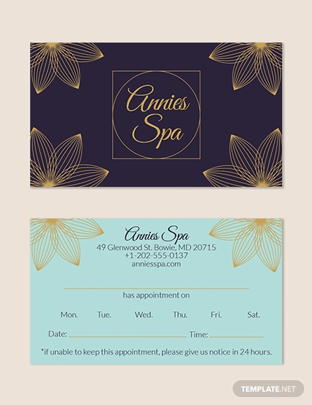 FREE Spa Appointment Card Template Download 128 Cards In PSD