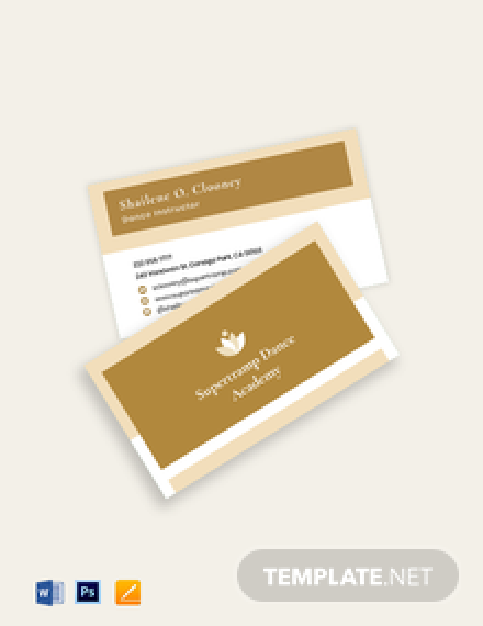 Dance School Business Card Template