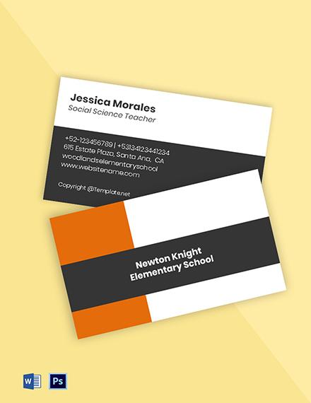 Sample Elementary School Business Card Template