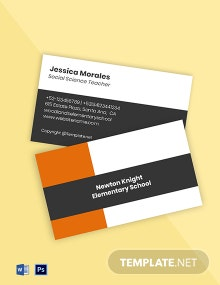 Free Sample Elementary School Business Card Template