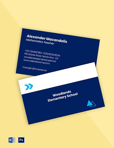 Creative School Business Card Template