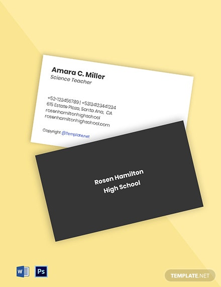Simple School Business Card Template
