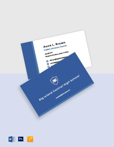 Sample School Business Card Template