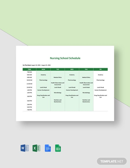 Nursing School Schedule Template