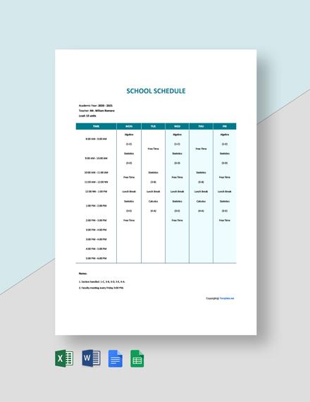 Free Simple School Schedule Template