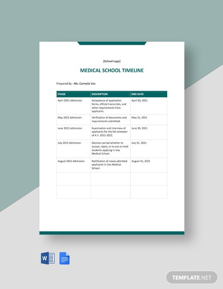Medical School Timeline Template