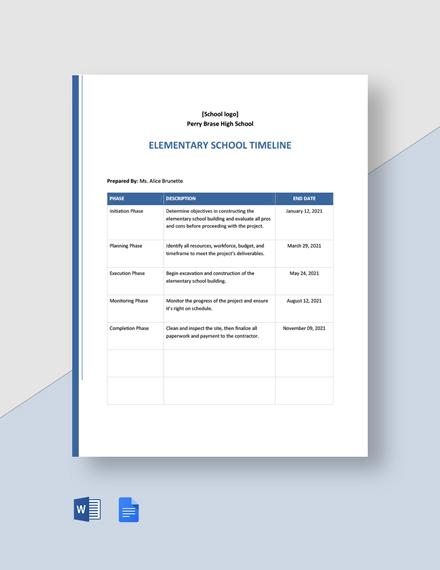 Elementary School Timeline Template