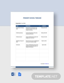 Free Basic Primary School Timeline Template