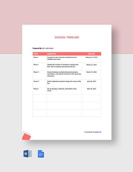 Free Simple School Timeline Template