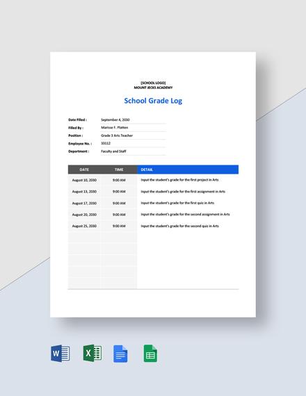 School Grade Log Template