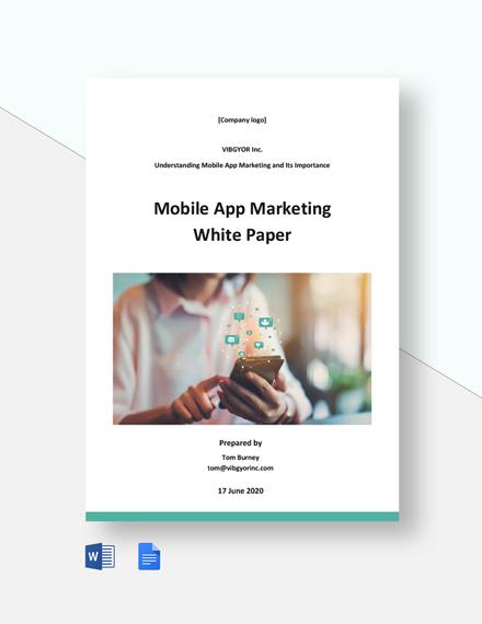 Mobile App Marketing White Paper Template