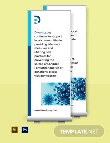 Coronavirus COVID-19 Prevention Roll-up Banner Template